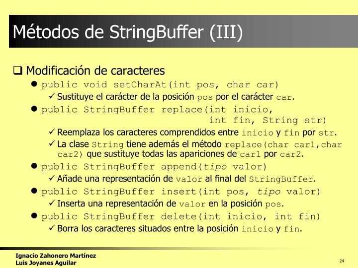 Métodos de StringBuffer (III)