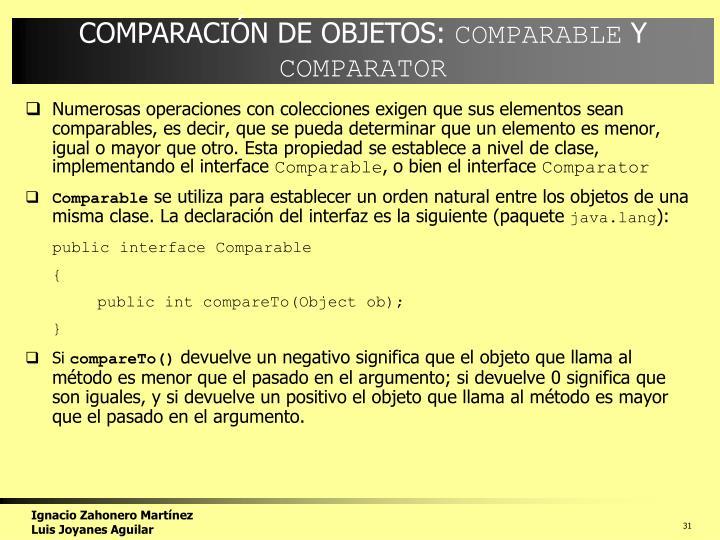 COMPARACIÓN DE OBJETOS: