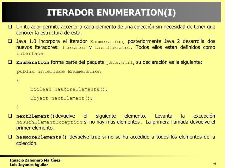ITERADOR ENUMERATION(I)