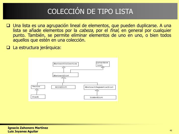 COLECCIÓN DE TIPO LISTA