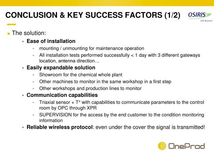 CONCLUSION & KEY SUCCESS FACTORS (1/2)