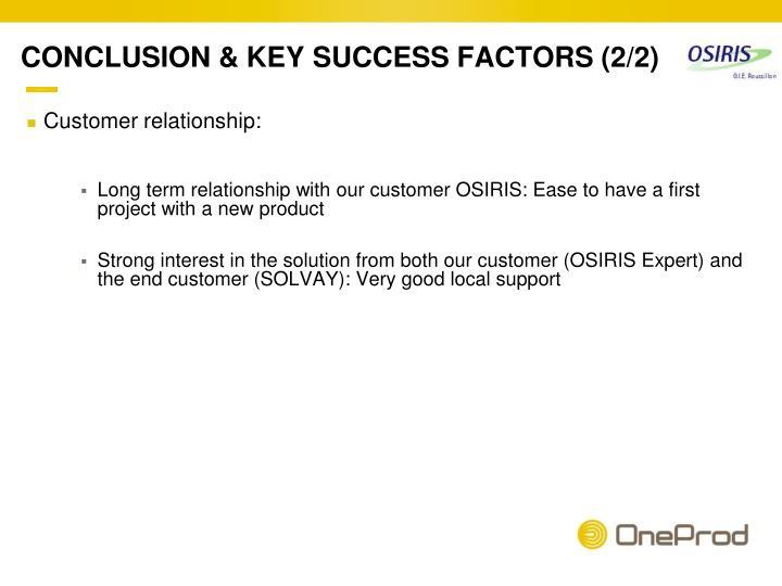 CONCLUSION & KEY SUCCESS FACTORS (2/2)