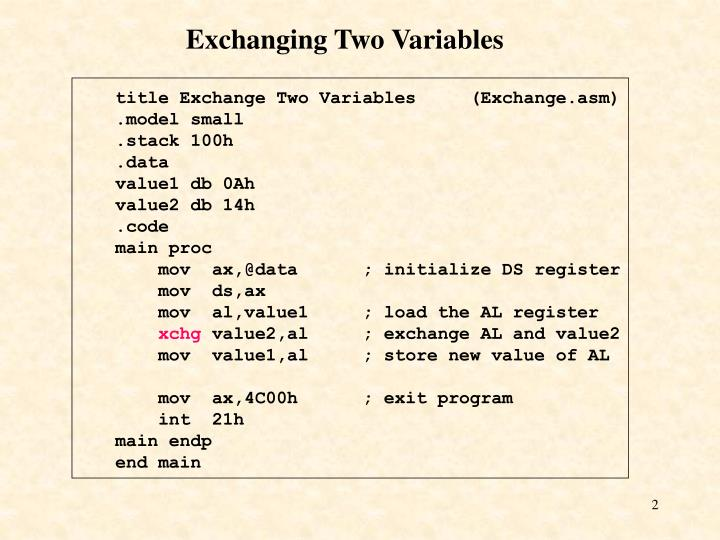 Exchanging Two Variables