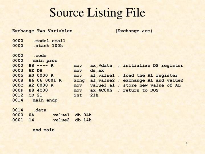 Source listing file