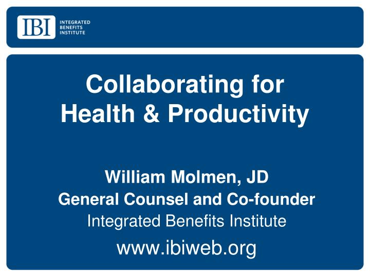 collaborating for health productivity n.
