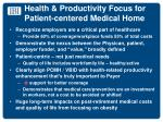 health productivity focus for patient centered medical home