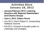 activities since january 18 2012