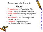 some vocabulary to know