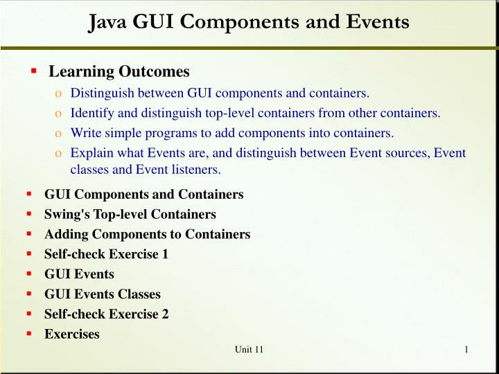 java gui components and events n.