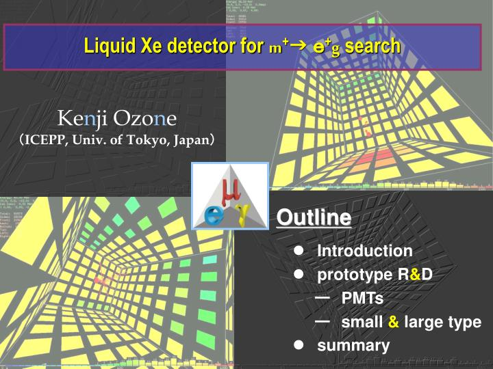 liquid xe detector for m g g search n.