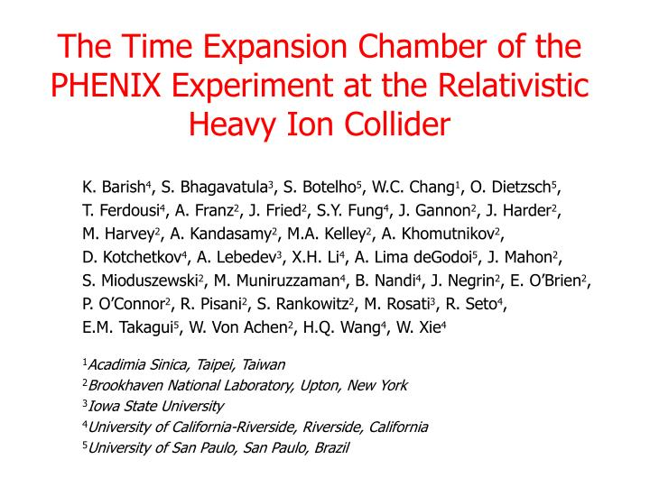 the time expansion chamber of the phenix experiment at the relativistic heavy ion collider n.