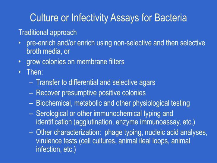 Culture or Infectivity Assays for Bacteria