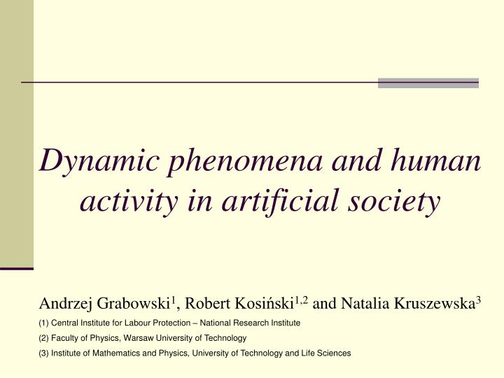 dynamic phenomena and human activity in artificial society n.