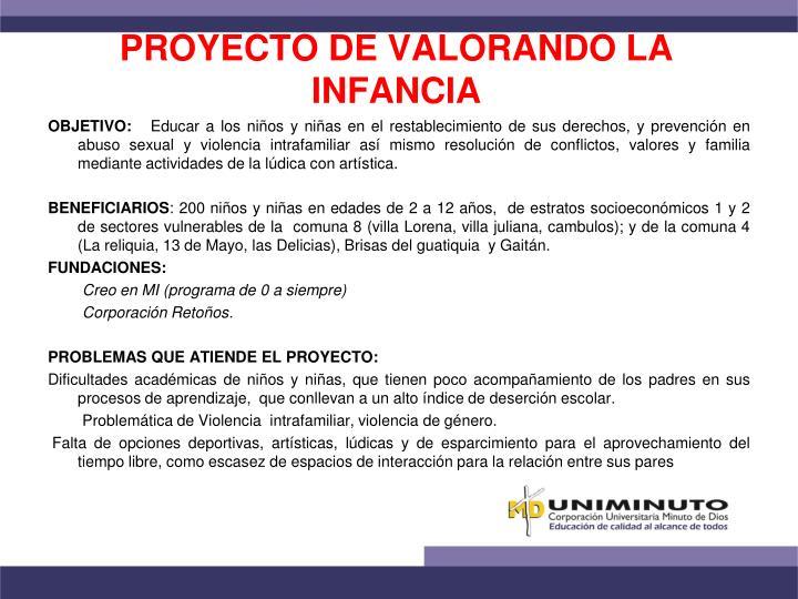 PROYECTO DE VALORANDO LA INFANCIA