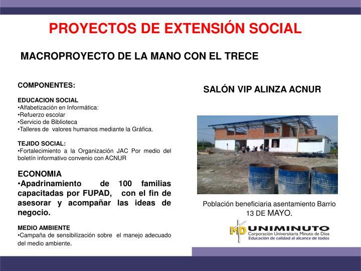 PROYECTOS DE EXTENSIÓN SOCIAL