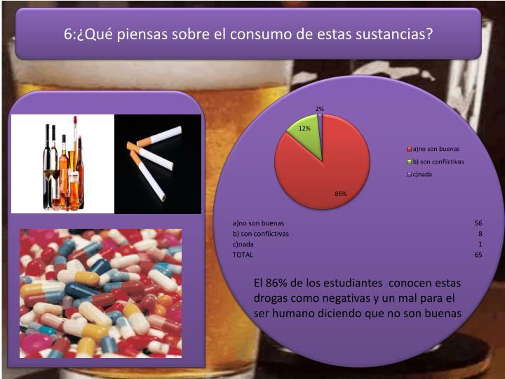 6:¿Qué piensas sobre el consumo de estas sustancias?
