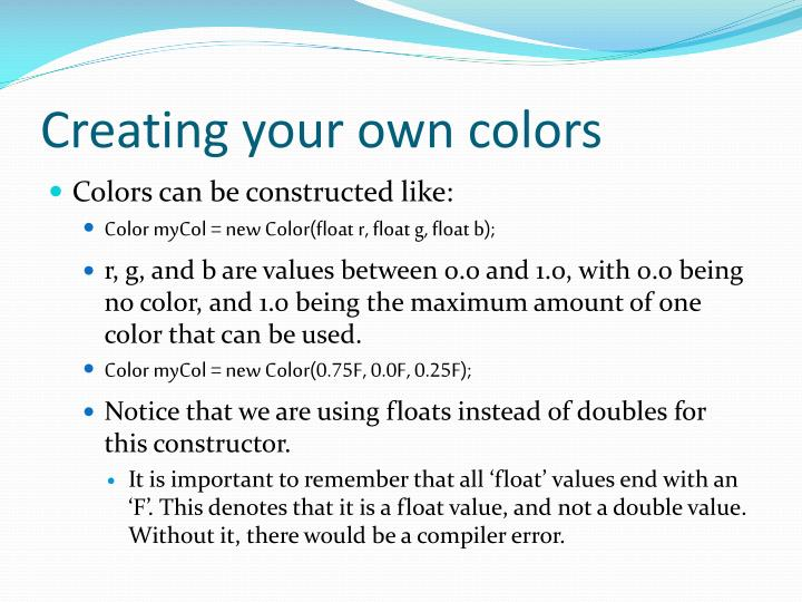 Creating your own colors