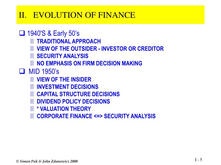 evolution of finance