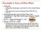 example 1 law of one price