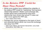 is the relative ppp useful for short time periods