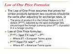 law of one price formulas