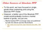 other sources of absolute ppp