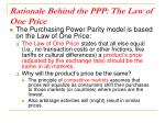 rationale behind the ppp the law of one price