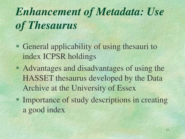 Enhancement of Metadata: Use of Thesaurus
