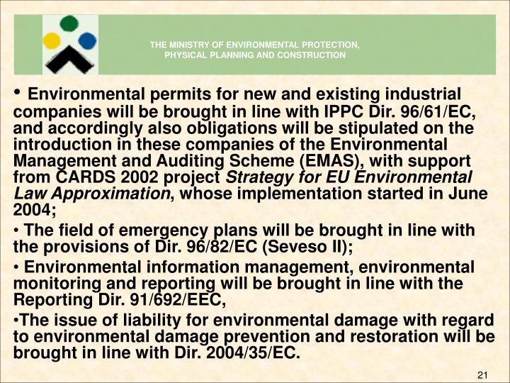 THE MINISTRY OF ENVIRONMENTAL PROTECTION,