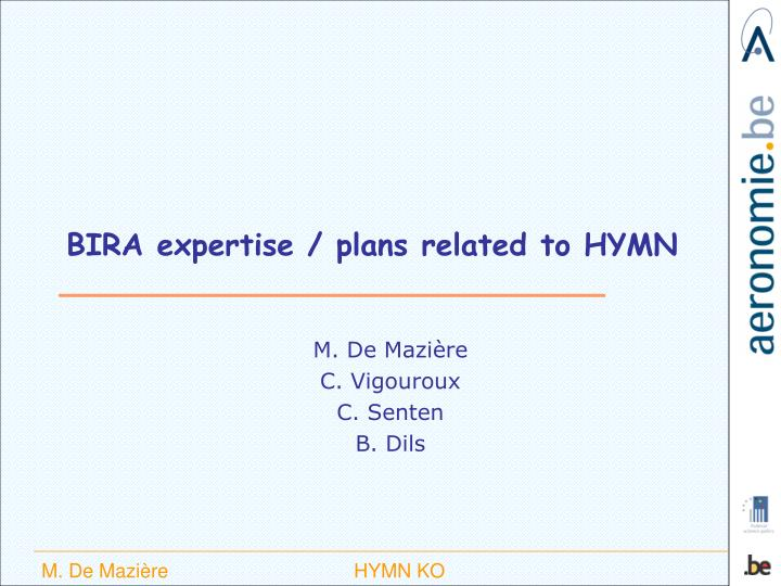 bira expertise plans related to hymn n.
