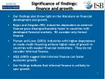 significance of findings finance and growth