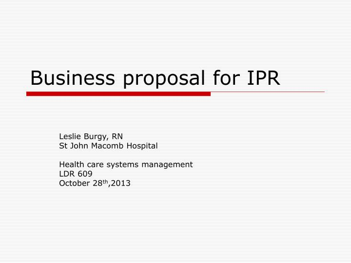 business proposal for ipr n.