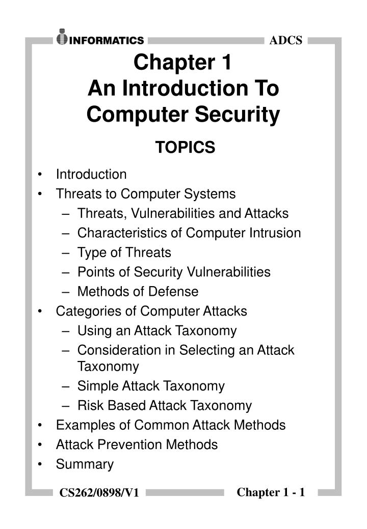 Chapter 1 an introduction to computer security