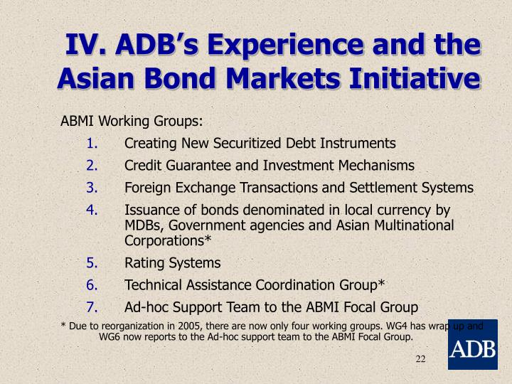 IV. ADB's Experience and the