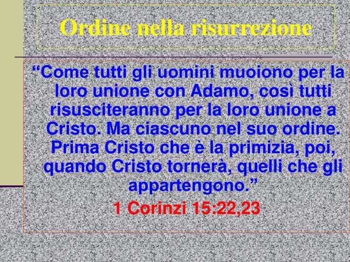 Ordine nella risurrezione
