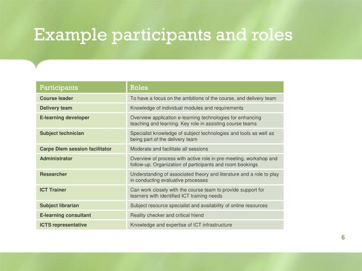 Example participants and roles