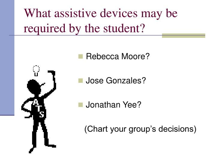 What assistive devices may be required by the student?