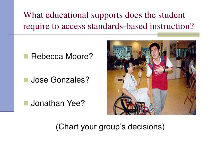 What educational supports does the student require to access standards-based instruction?