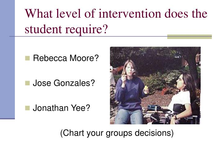 What level of intervention does the student require?