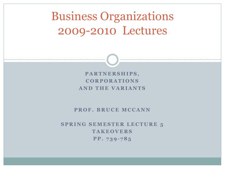 business organizations 2009 2010 lectures n.