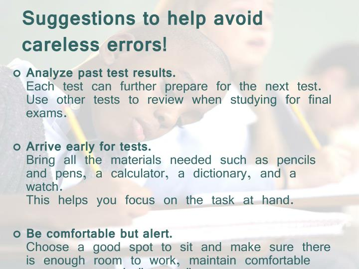 Suggestions to help avoid careless errors