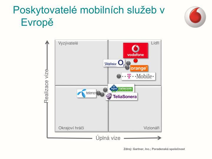 Poskytovatelé mobilních služeb v Evropě