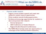 what can the nsrg do for you2