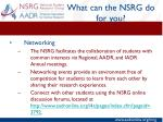 what can the nsrg do for you5