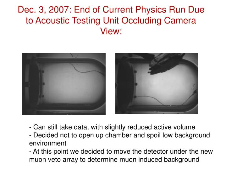 Dec. 3, 2007: End of Current Physics Run Due to Acoustic Testing Unit Occluding Camera View: