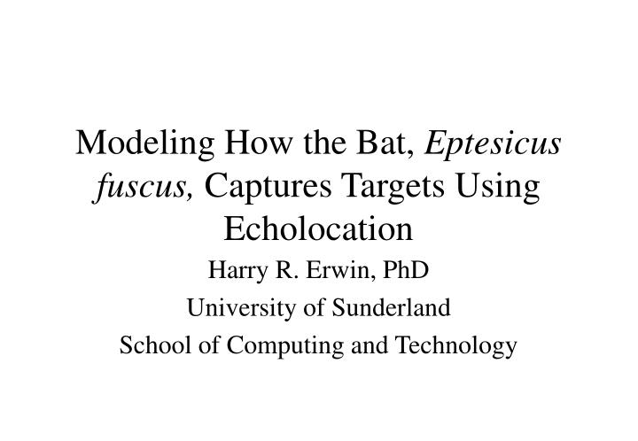 modeling how the bat eptesicus fuscus captures targets using echolocation n.