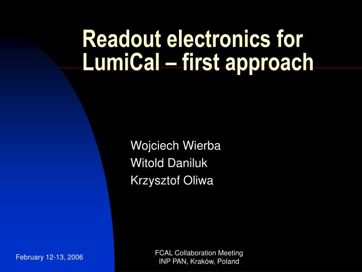 readout electronics for lumical first approach n.