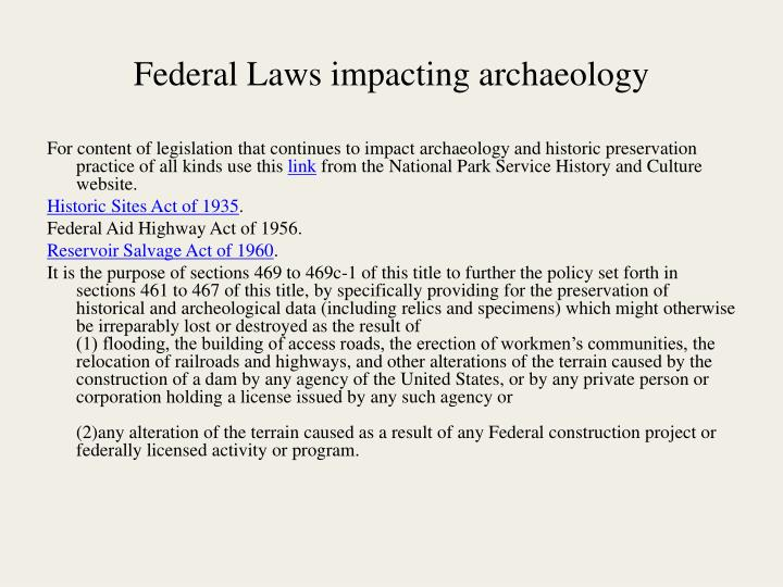 Federal Laws impacting archaeology