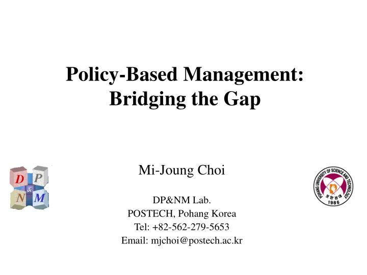 policy based management bridging the gap n.