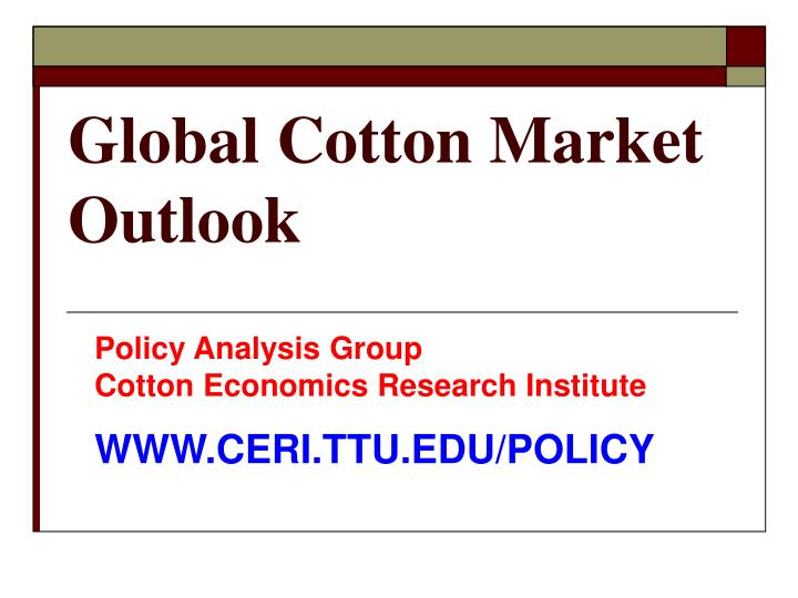 global cotton market outlook n.
